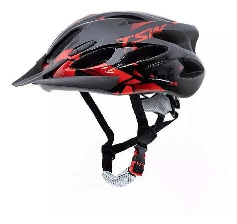 Capacete Tsw Raptor 2 Com Led Preto Vermelho Ciclismo Mtb Tam M