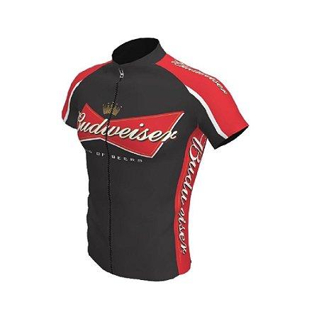 Camisa Ciclismo Bike Cerveja Budweiser Preta Vermelha Ziper Total