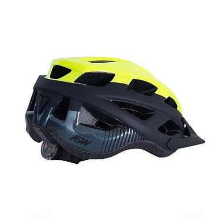 Capacete Bike Asw Fun Amarelo Fluor Com Iluminação Segurança