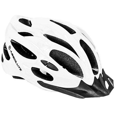 Capacete Absolute Nero Branco Brilho Ciclist Led Sinalizador
