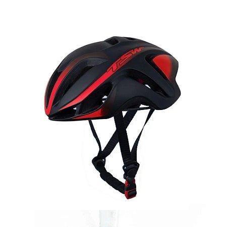 Capacete Tsw Team Plus Bicicleta Ciclismo Preto / Vermelho