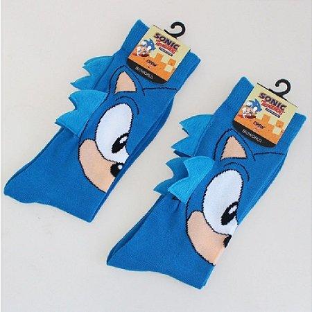 Meia 3D Cano Alto De Algodão Sonic