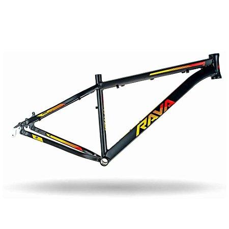 Quadro 29 Bike Mtb Rava Pressure Preto/Vermelho/Amarelo 17