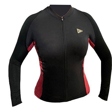 Camisa Ciclismo Feminina Manga Longa Sol Sports Training Preto Pink Tam M