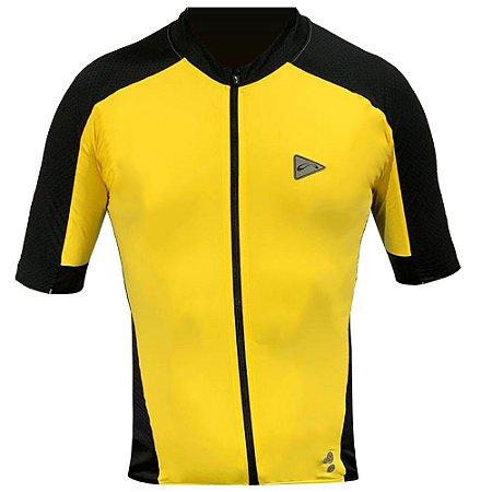 Camisa Ciclismo Masculina Manga Curta Sol Training Amarela Tam G