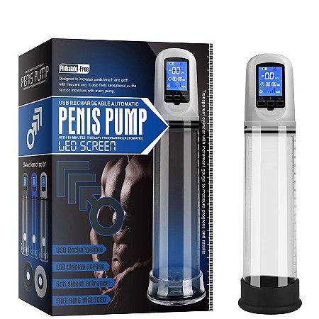 Bomba peniana recarregável com sucção automática e visor digital.  Produto: 30,5×7×7 cm Diâmetro: 7 cm Tubo: 21,5 cm Utiliza: Cabo USB Incluso Material: ABS e TPR.
