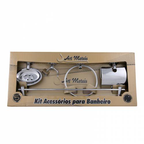 kit acessório para banheiro de metal inox 05 pç