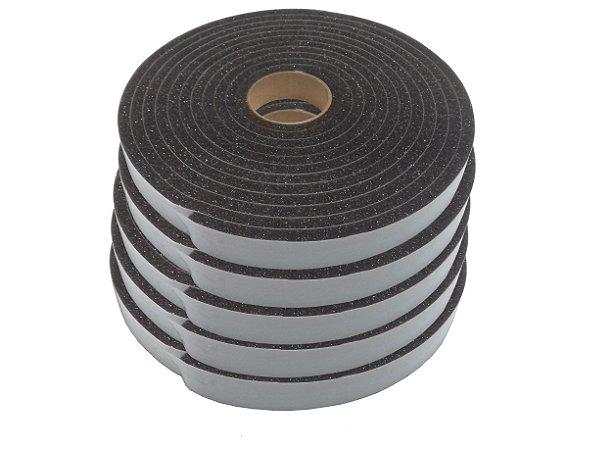 Fita de Vedação em Espuma de Poliuretano Cinza - 8mm x 22mm x 5m -  Kit com 5 Rolos