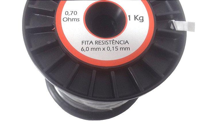 Fita Resistência de Níquel-Cromo (80/20) Espessura 0,15mm X Largura 6,0mm X 141 metros -Rolo 1KG