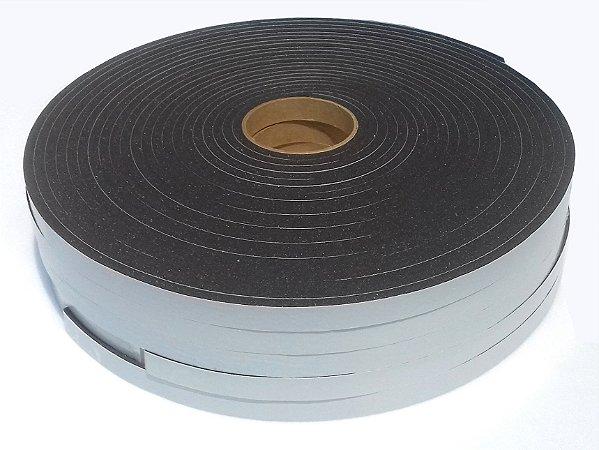 Fita de Vedação em PVC Preto Adesivado 1 face - 05mm x 12mm x 10m com 05 Rolos