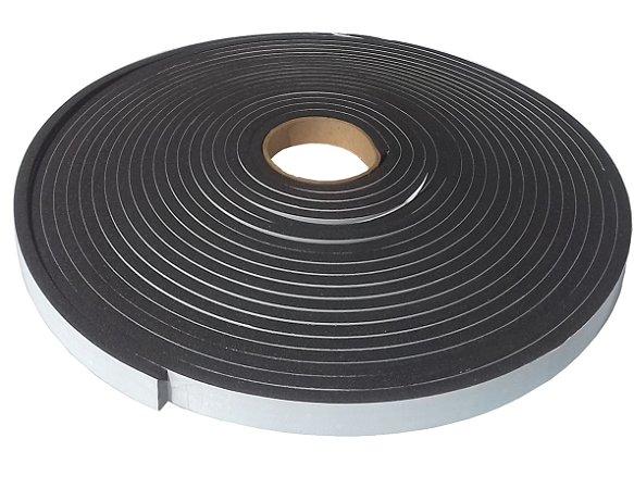 Fita de Vedação em PVC Preto Adesivado 1 face - 05mm x 20mm x 10m