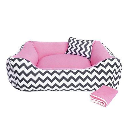 Kit Cama para Cachorro ou Gato + Cobertor Dupla Face 70x70