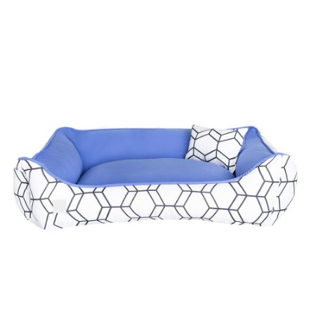 Cama Pet Premium 40x60 Geométrica Azul