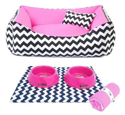 Kit Cama  Pet Comedouros + Cobertor Rosa D4patas