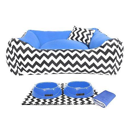 Kit Cama  Pet Comedouros + Cobertor Azul D4patas