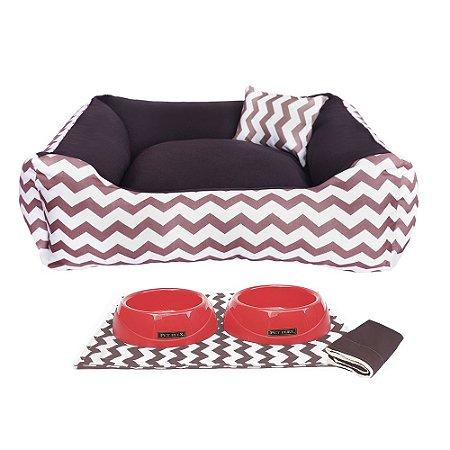 Kit Cama 60x60 Pet Comedouros + Cobertor Marrom D4patas