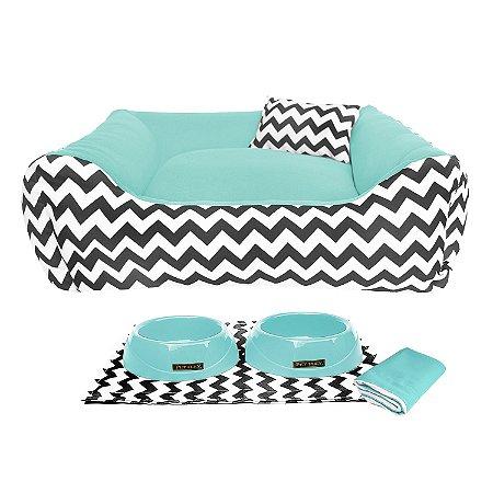 Kit Cama 60x60 Pet Comedouros + Cobertor - Verde água D4patas