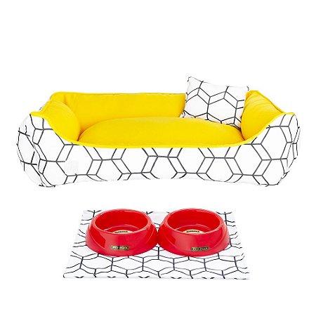 Kit Cama 40x60 Pet Comedouros + Cobertor - Vermelha D4patas