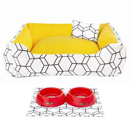 Kit Cama 60x60 Pet Comedouros + Cobertor - Amarelo D4patas