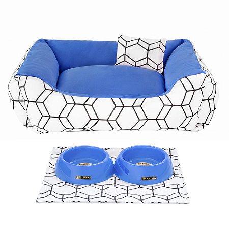 Kit Cama 60x60 Pet Comedouros + Cobertor - Azul D4patas