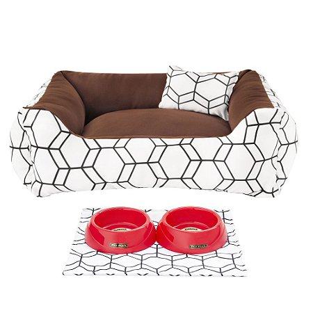 Kit Cama 60x60 Pet Comedouros + Cobertor - Marrom D4patas