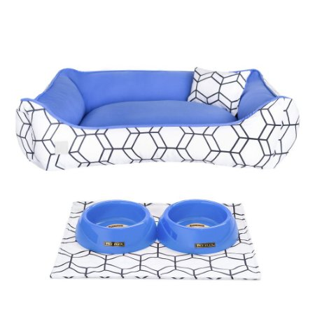 Kit Cama 40x60 Pet Comedouros + Cobertor - Azul D4patas