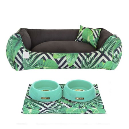 Kit Cama 40x60 Pet Comedouros + Cobertor - Jungle D4patas