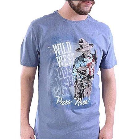 Camiseta Masc Pura Raça Rodeio Azul Indigo
