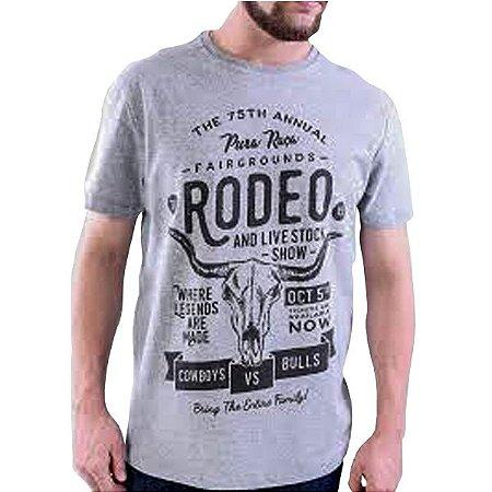 Camiseta Masc Pura Raça Rodeio Cinza Mescla