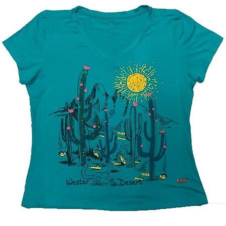 T-Shirt Verde Cactos - Zoe Horse Western