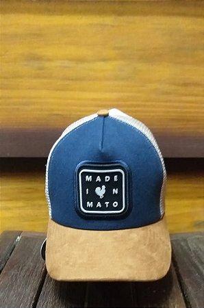 BONÉ TRUCKER MARINHO ABA OCRE B1631 - MADE IN MATO