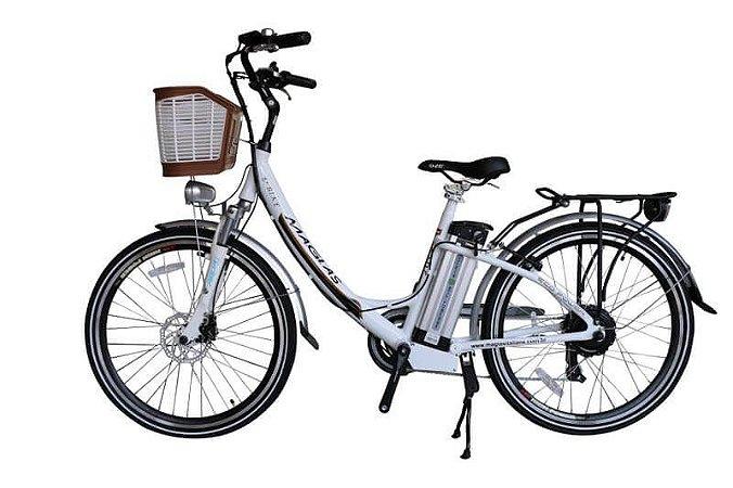 Bicicleta Elétrica July Aro 26 Bateria de Lítio Branca - Magias Italiane