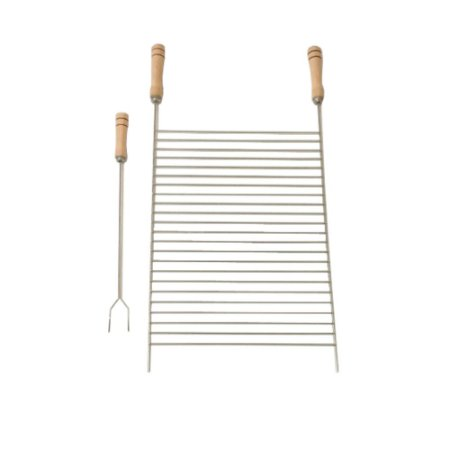 Kit Grelha Com Garfo Churrasco Niquelada 78 x 40 x 50 Cm 1212 Stolf
