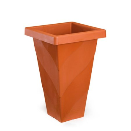 Vaso Plastico Roma Quadrado Grande Telha 0473 Injeplastec