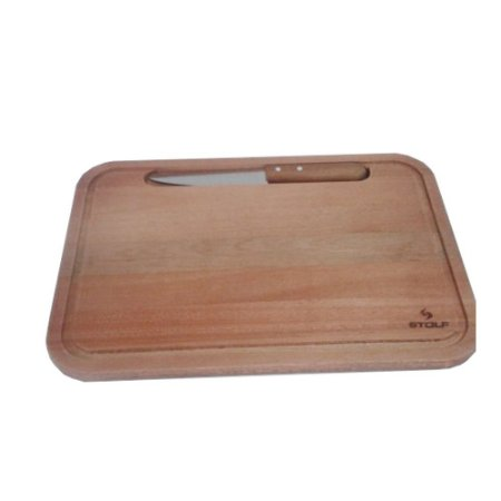 Kit Tabua Carne Churrasco 44 x 30 Cm C/ Faca Embutida 1198 Stolf