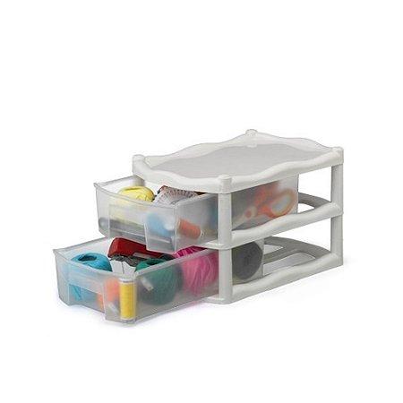 Gaveteiro Organizador 2 Gaveta Plastico Marmore Medio 1031 Injeplastec
