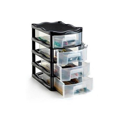 Gaveteiro Organizador 4 Gaveta Plastico Grande 42 x 26 x 38 1021 Injeplastec