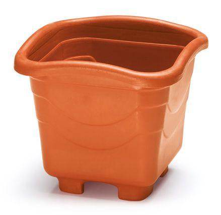 kit 6 vaso plastico quadrado 20 litros gg 37 cm telha 0025 injeplastec