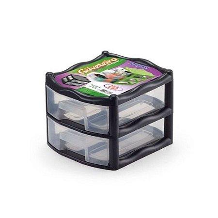 Mini Gaveteiro Organizador 2 Gaveta Plastico Modular 1024 Injeplastec
