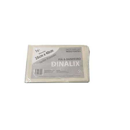 Saco Lixo Branco 38 x 40 10 Litros 20 Unidades Dinalix 1283