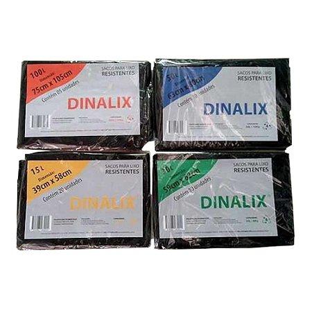 Saco Lixo Preto 39 x 58 15 Litros 20 Unidades Dinalix 1279