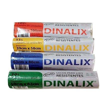 Saco Lixo Preto 50 Litros Rolo 10 Unidades 63 x 80 Dinalix 1286