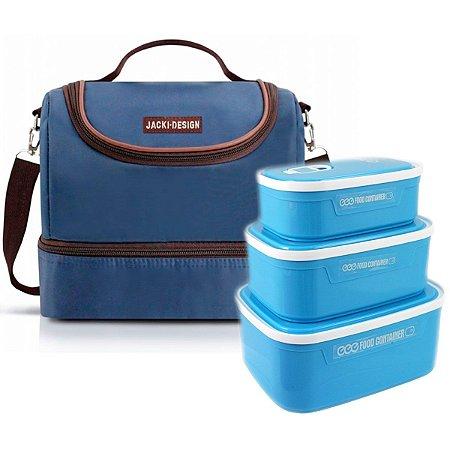 Bolsa Térmica dupla azul Essencial com kit de 3 marmitas
