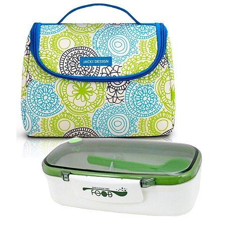 Bolsa Térmica de mão azul-verde Com Marmita Jacki Design