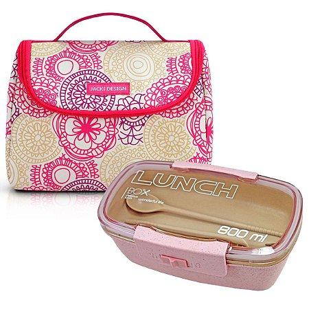 Bolsa Térmica de mão my lolla Com Marmita ecológica rosa