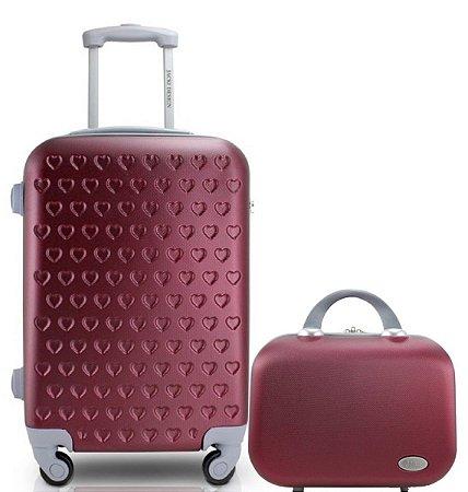 Mala De Viagem Grande com maleta Love - Jacki Design vinho