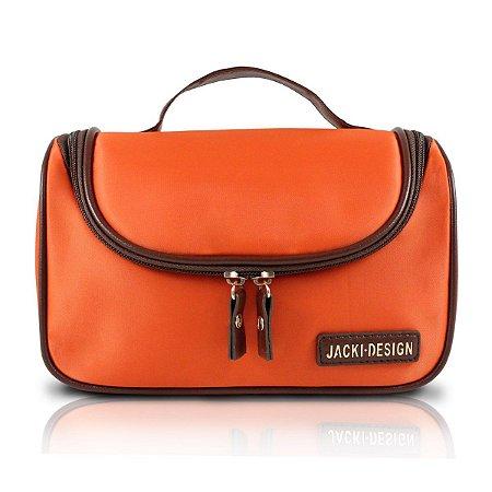 Necessaire de Viagem essencial Com Alça de mão laranja Jacki Design