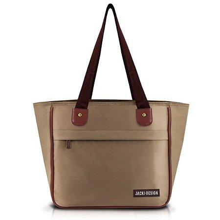 Bolsa feminina com bolso Jacki Design Essencial Marrom