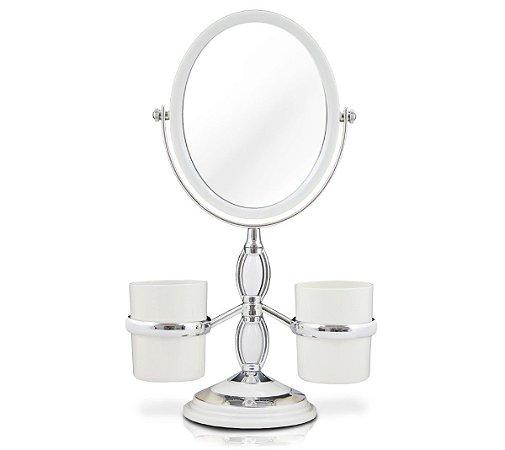 Espelho de bancada com suportes laterais Jacki Design Branco
