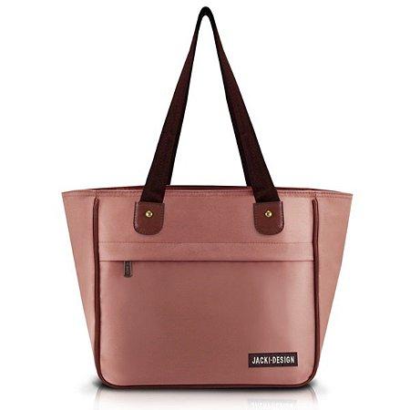 Bolsa feminina com bolso Jacki Design Essencial Rosa